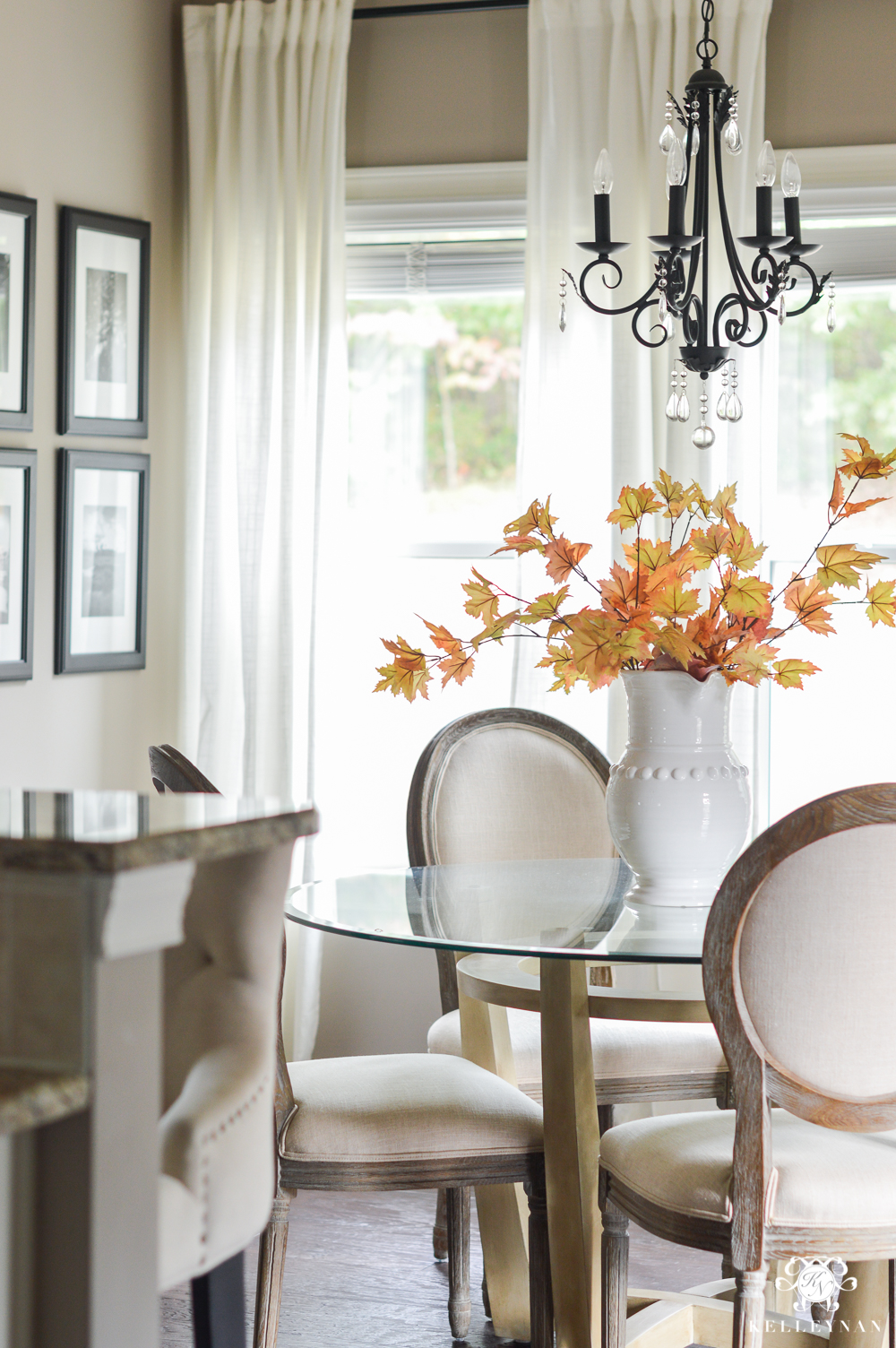 2017 Fall Home Tour with Yellow and Orange Leaves- breakfast nook with leaves