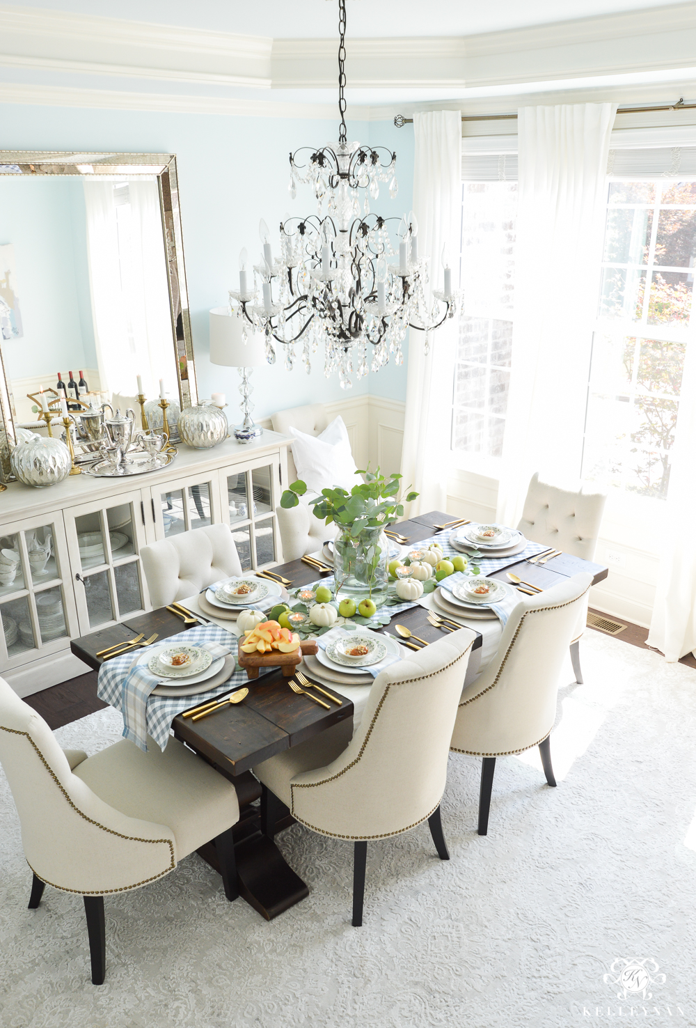 2017 Fall Home Tour With Yellow And Orange Leaves  Dining Room With  Chandelier