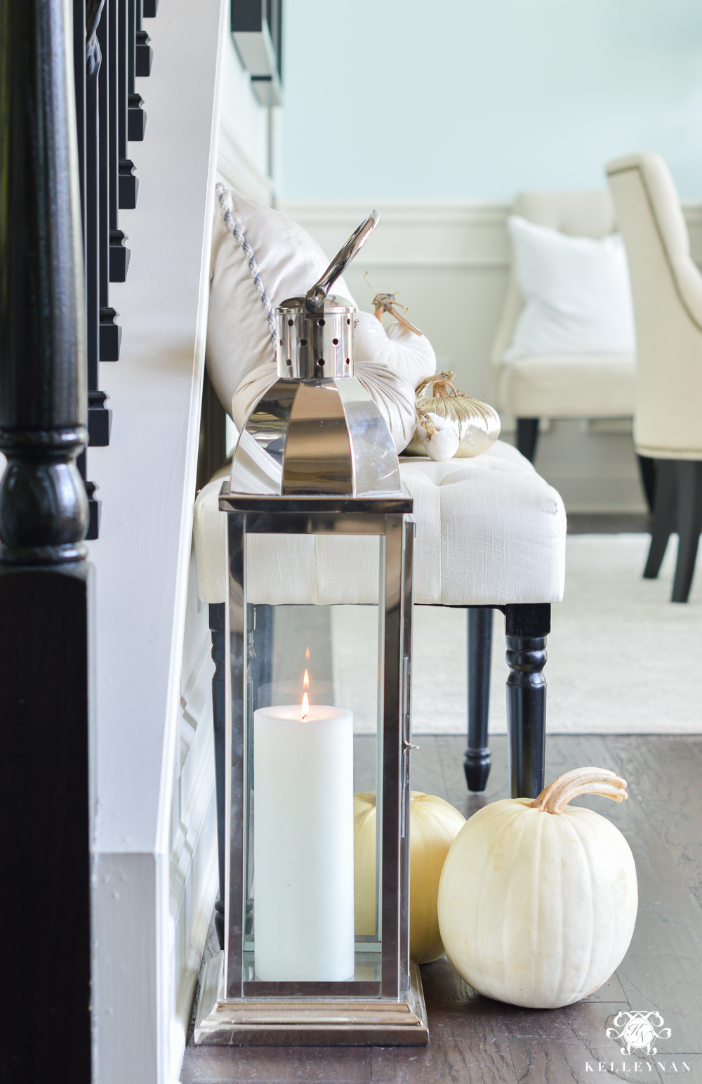 2017 Fall Home Tour with Yellow and Orange Leaves- entry lantern and pumpkins