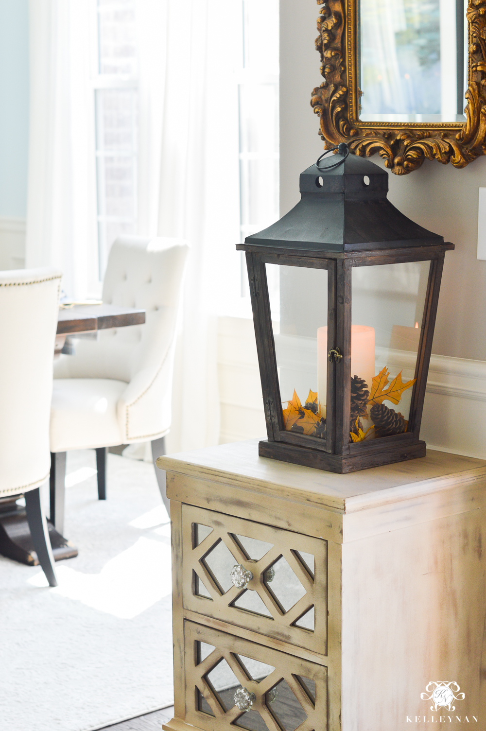 2017 Fall Home Tour with Yellow and Orange Leaves- entry lantern