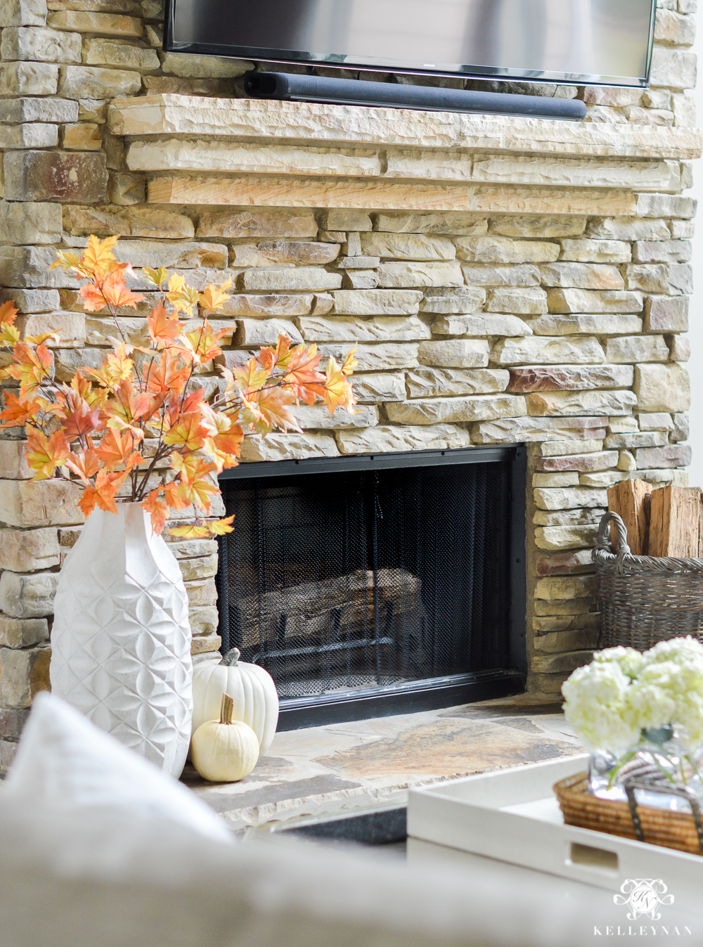 2017 Fall Home Tour with Yellow and Orange Leaves- fireplace hearth with leaves
