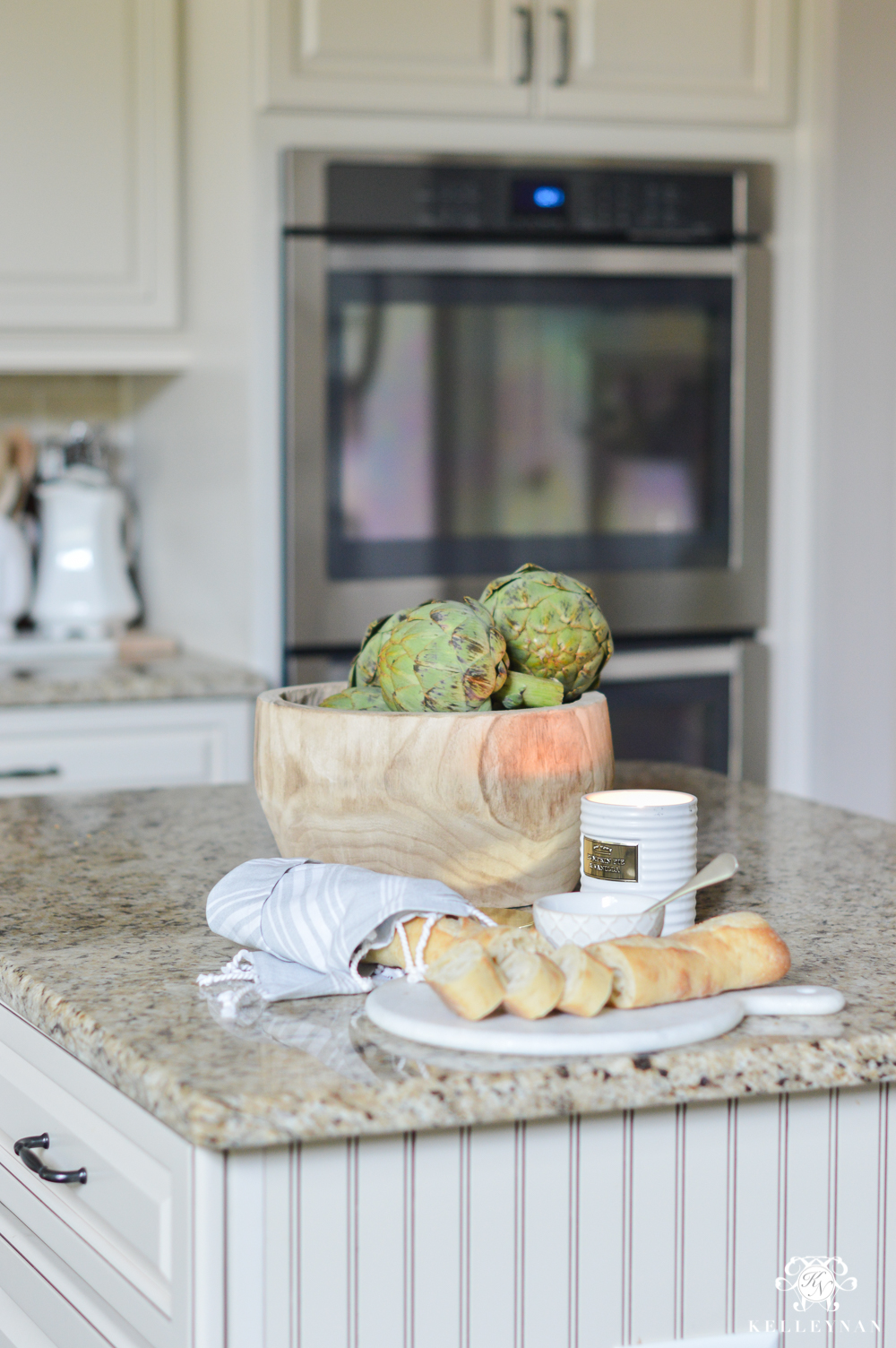 2017 Fall Home Tour with Yellow and Orange Leaves- kitchen with artichokes