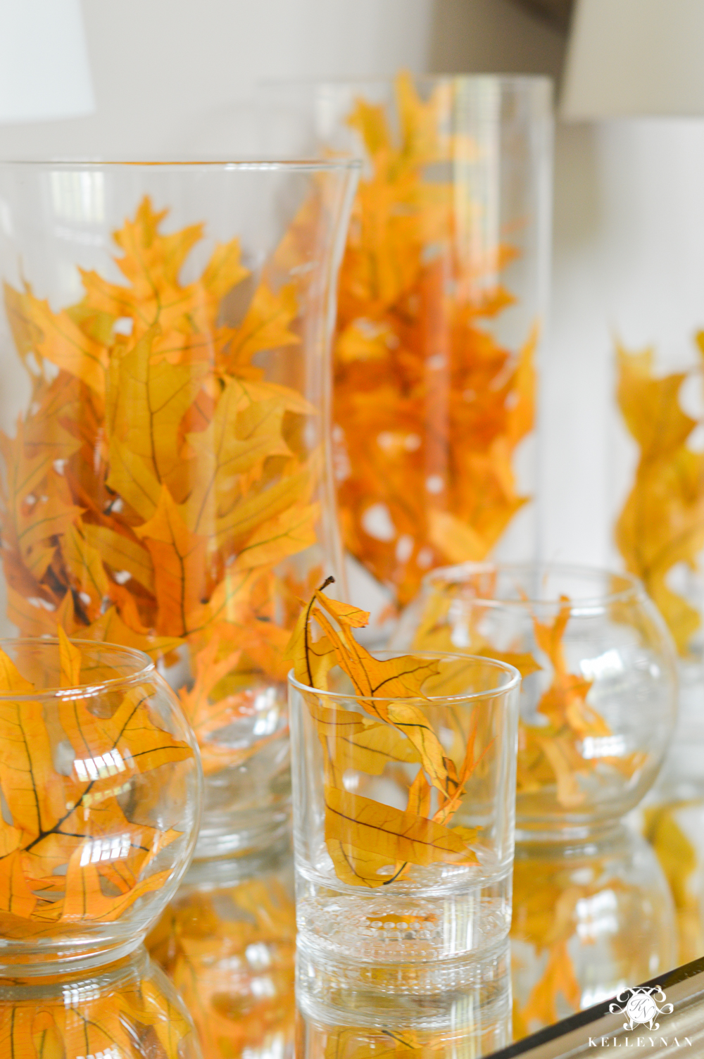 2017 Fall Home Tour with Yellow and Orange Leaves- leaves in hurricane vases