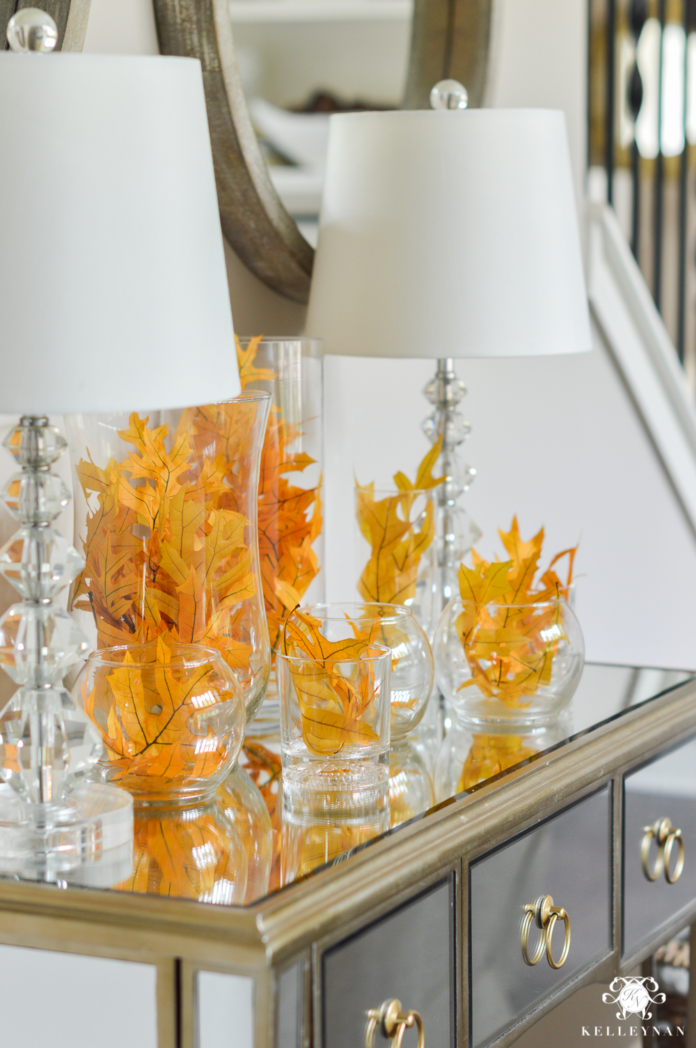 2017 Fall Home Tour with Yellow and Orange Leaves- leaves on mirrored console table