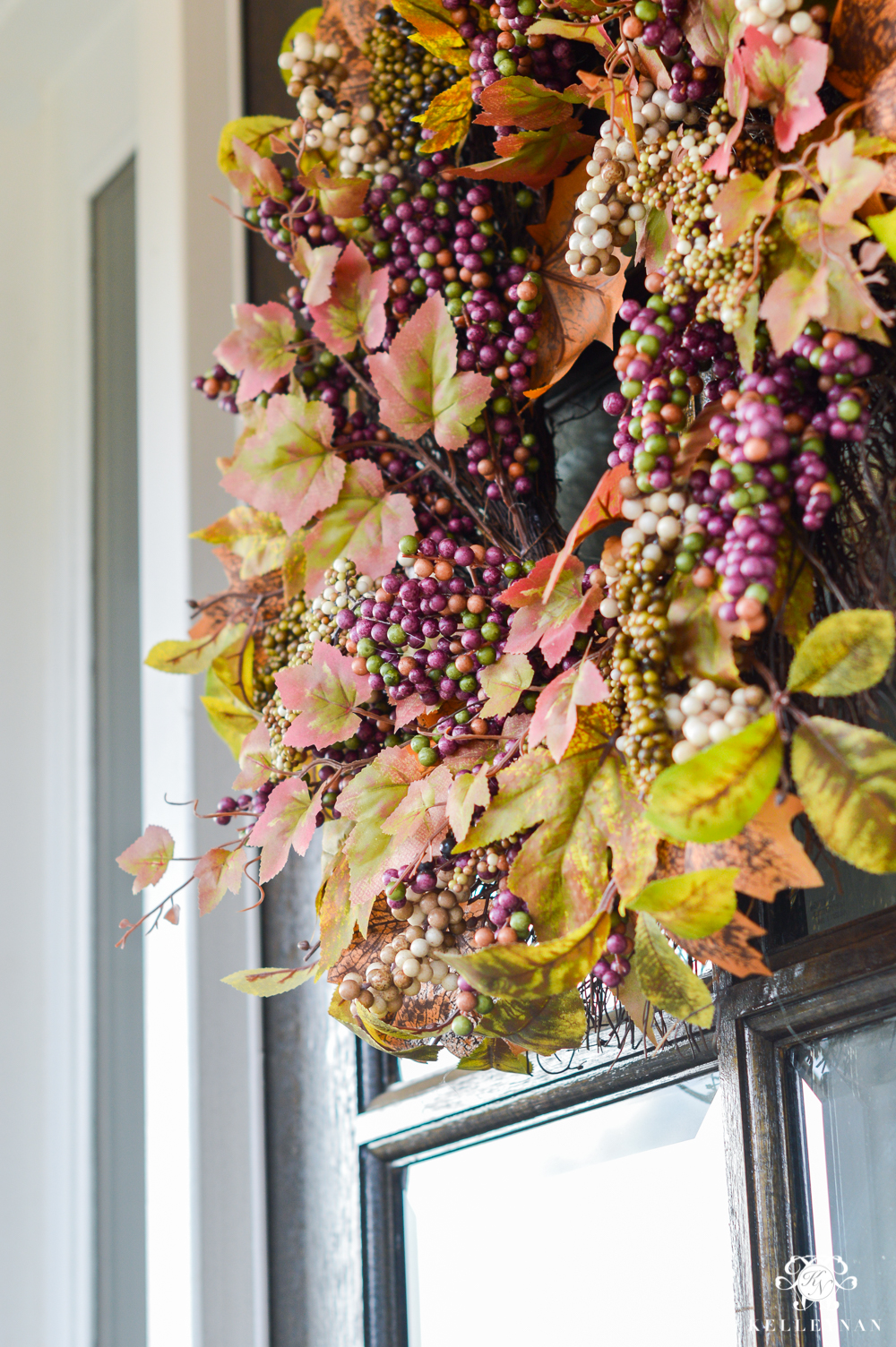 2017 Fall Home Tour with Yellow and Orange Leaves-purple fall wreath