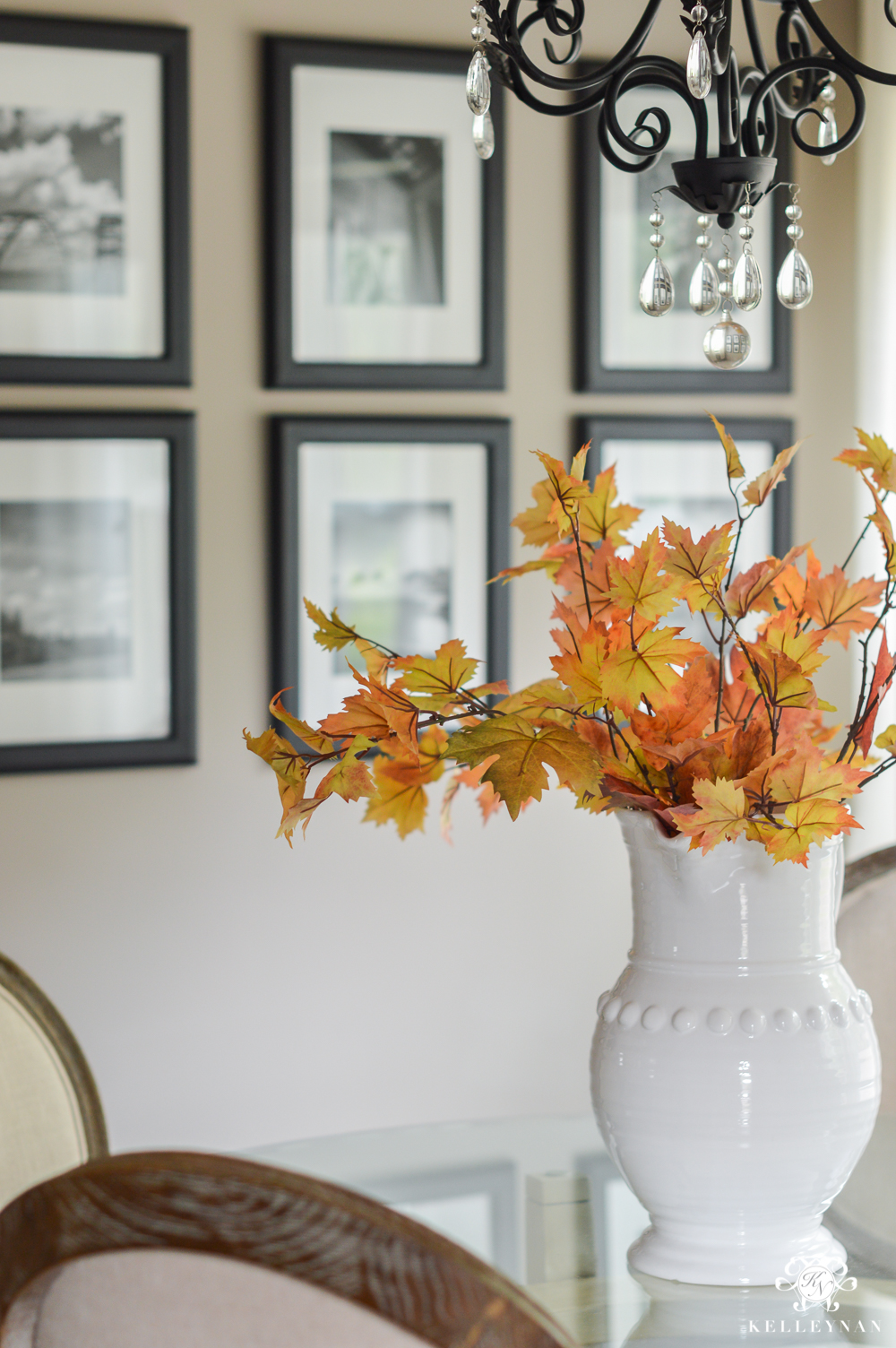 2017 Fall Home Tour with Yellow and Orange Leaves- white pitcher with leaves