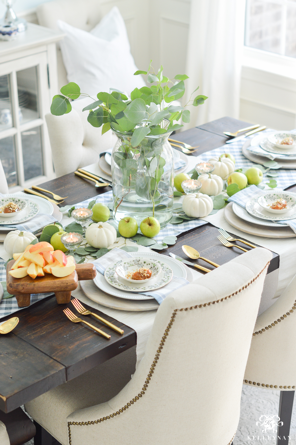 Fall Caramel Apple Table Place Setting Ideas- eucalyptus tablescape