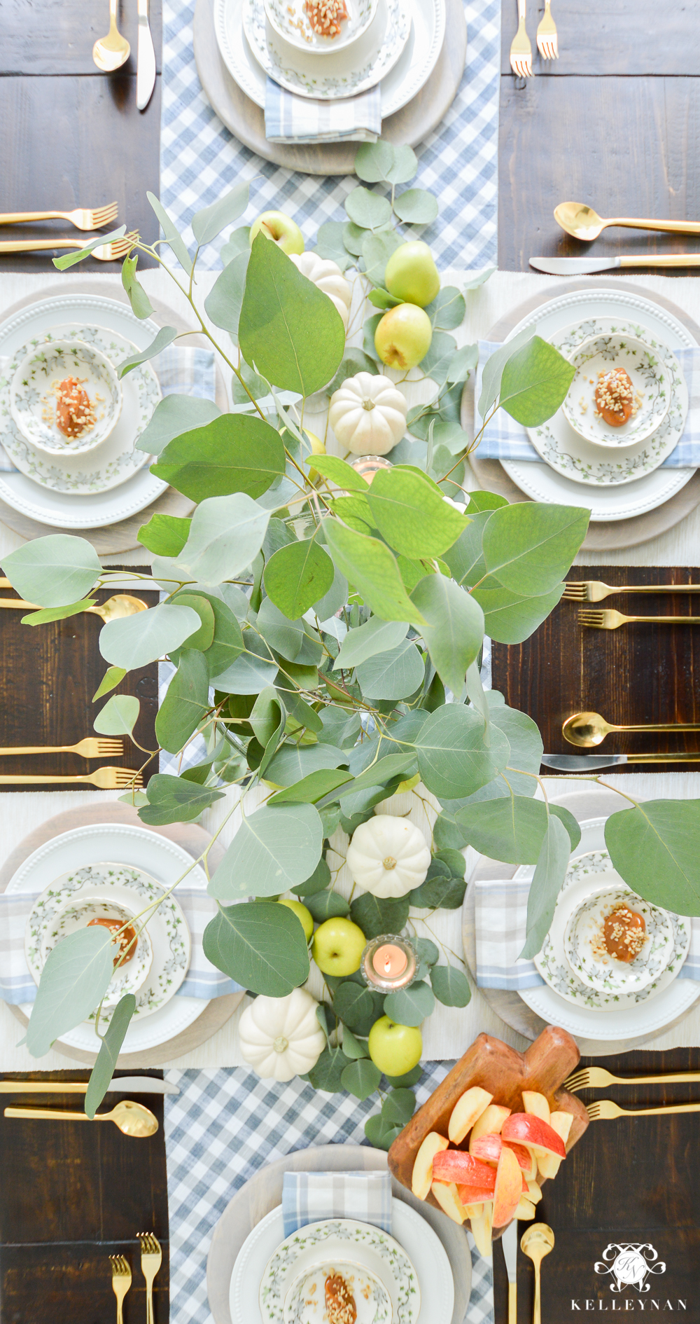 Fall Caramel Apple Table Place Setting Ideas- eucalyptus centerpiece