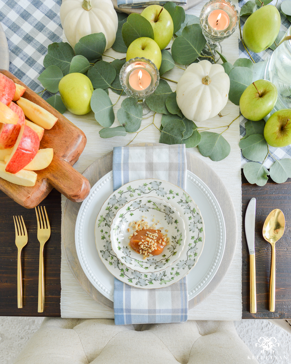 Fall Caramel Apple Table Place Setting Ideas- gold flatware pottery barn