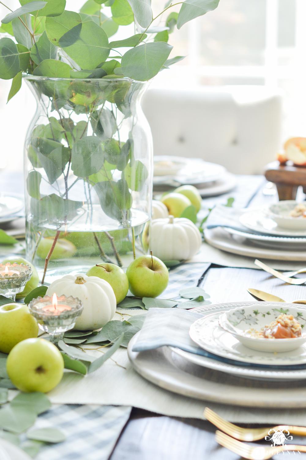Fall Caramel Apple Table Place Setting Ideas- place setting ideas