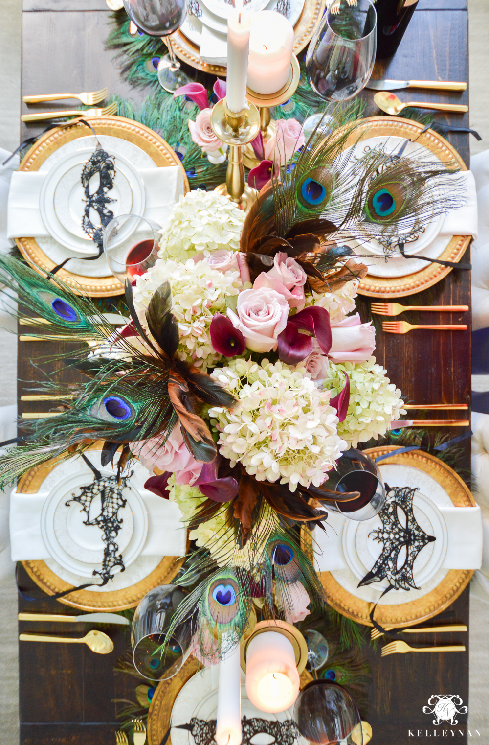 Masquerade Dinner Party for Halloween with Full Table Setting_-birds eye view of tablescape
