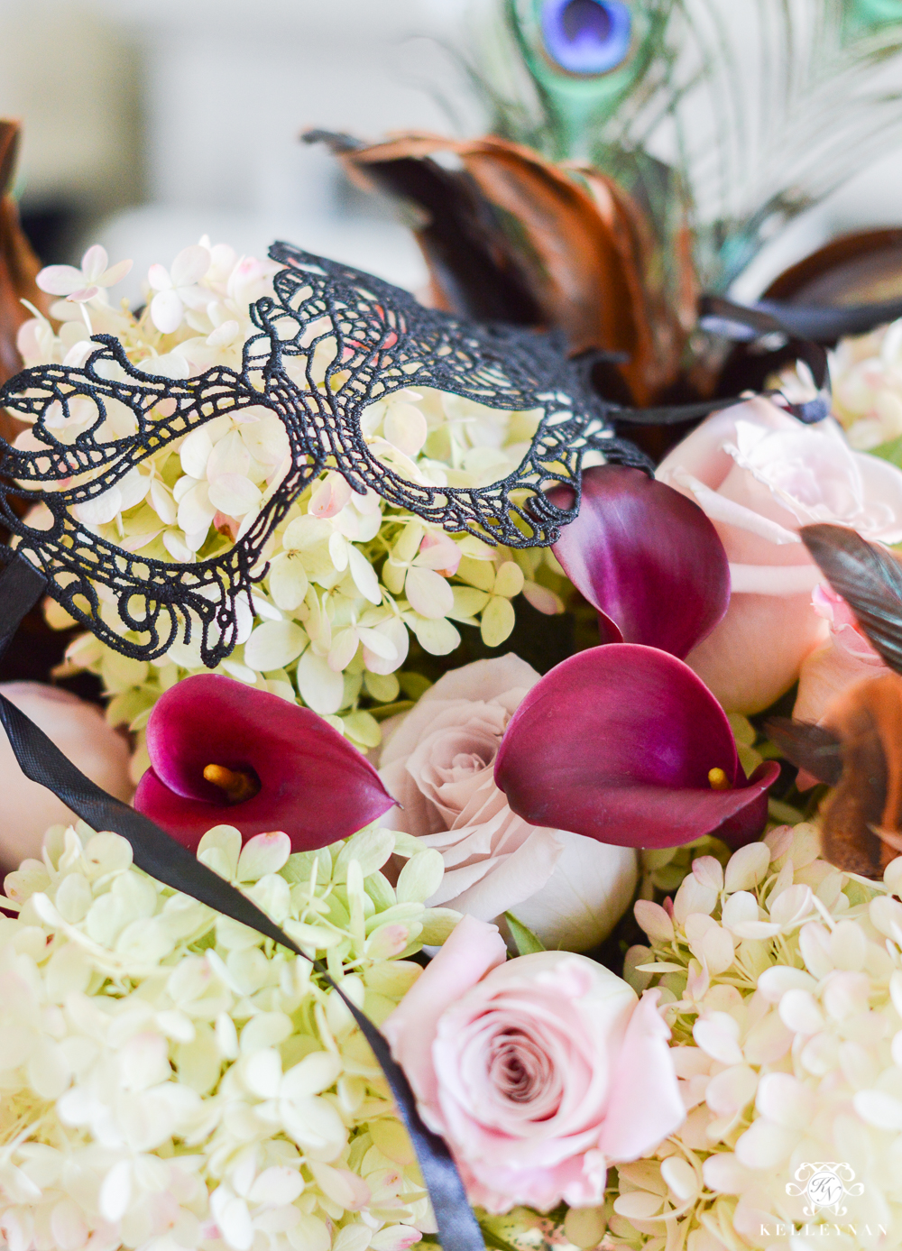 Masquerade Dinner Party for Halloween with Full Table Setting_-floral arrangement