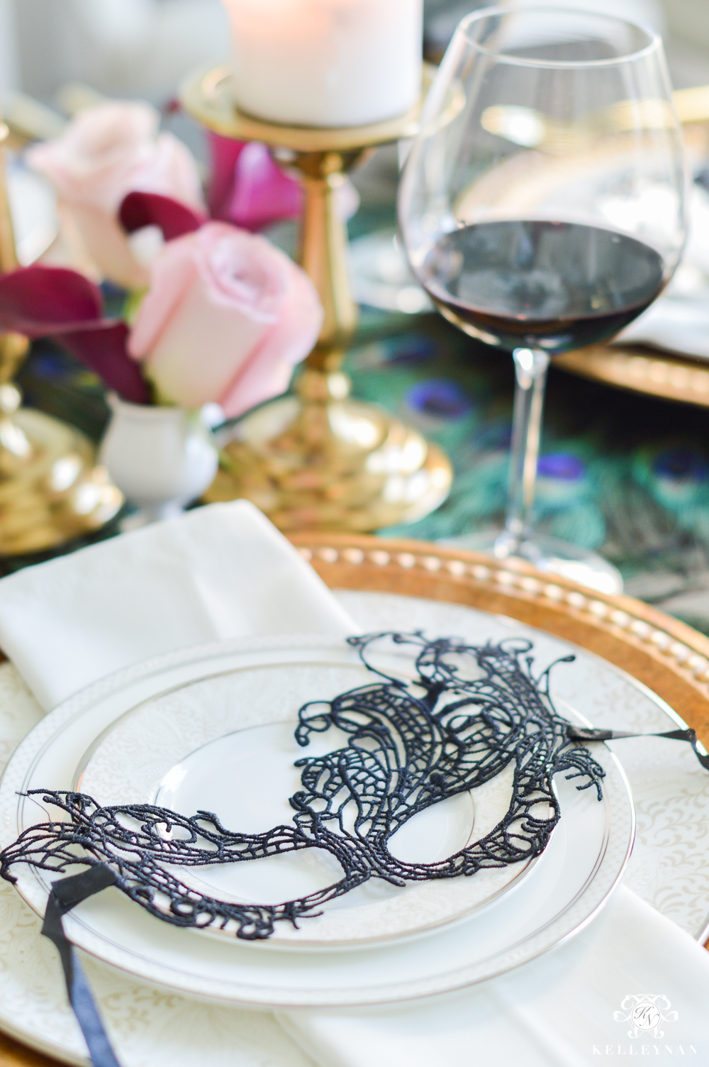 Masquerade Dinner Party for Halloween with Full Table Setting_-mask at place setting