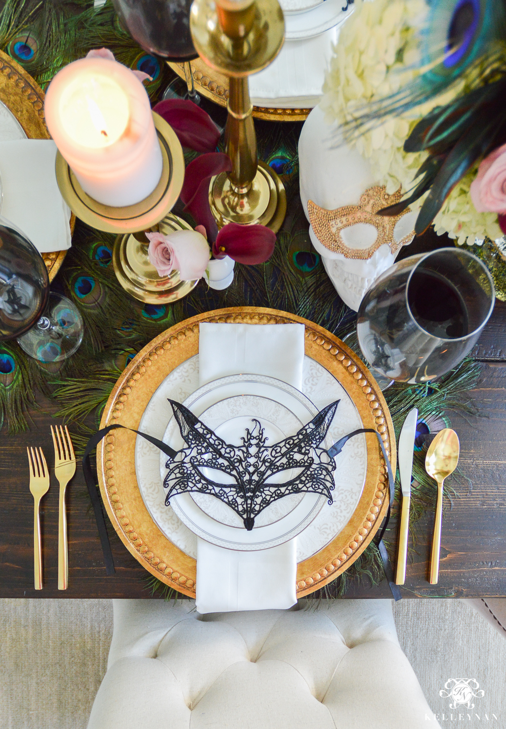 Masquerade Dinner Party for Halloween with Full Table Setting_-mask place setting ideas