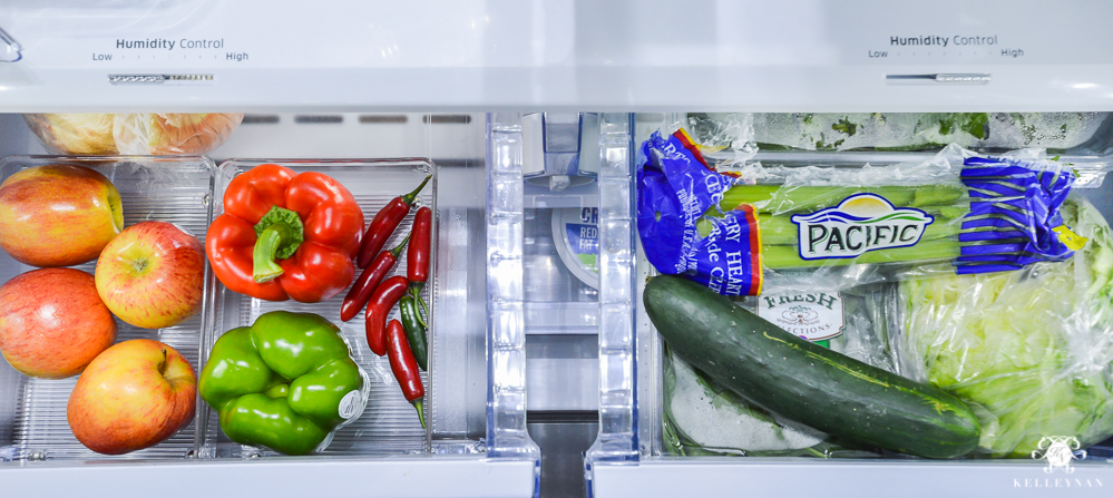 Refrigerator Organization and Best Ways to Organize the Fridge- fruit and veggie drawers