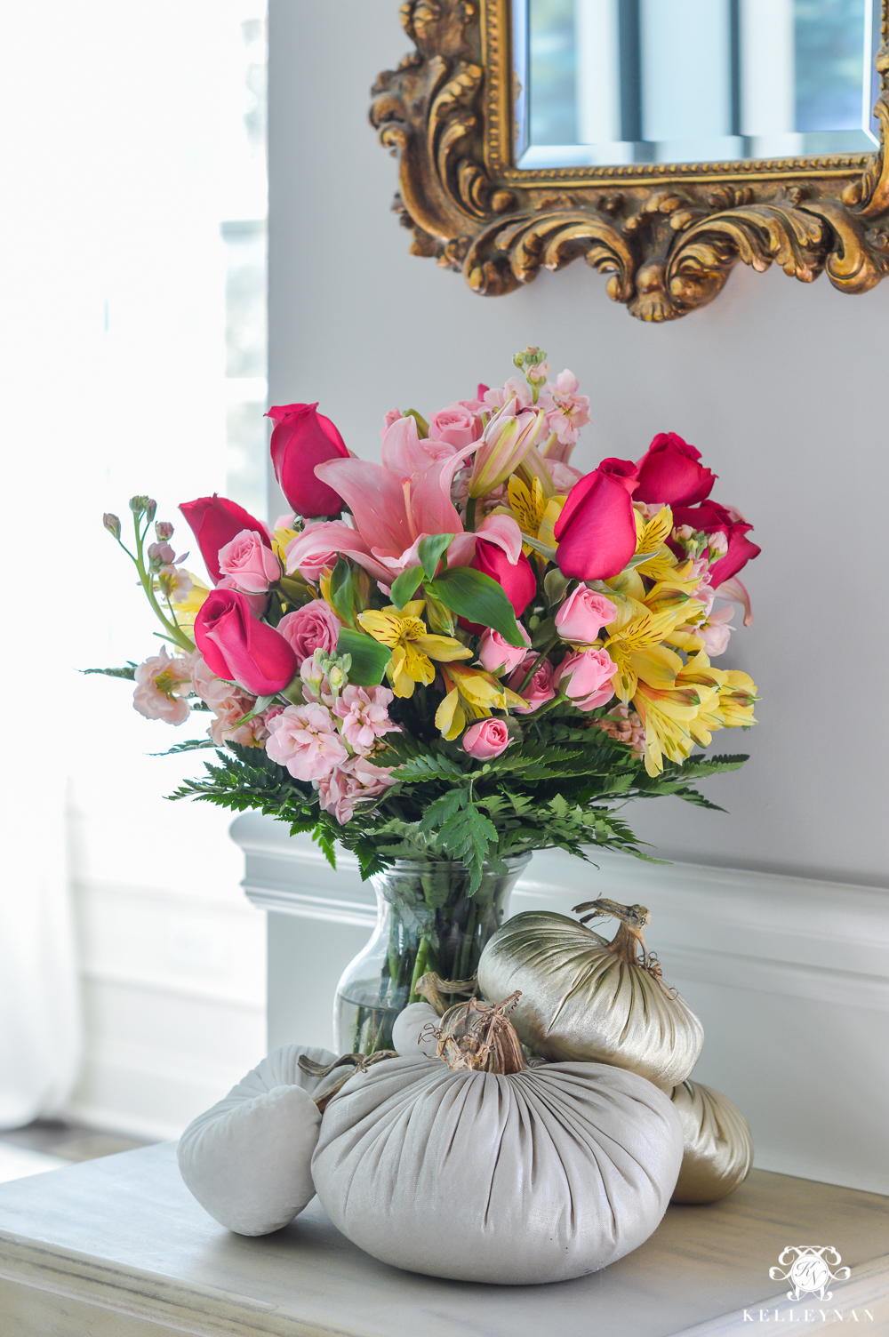Foyer flowers with how to style plush pumpkins