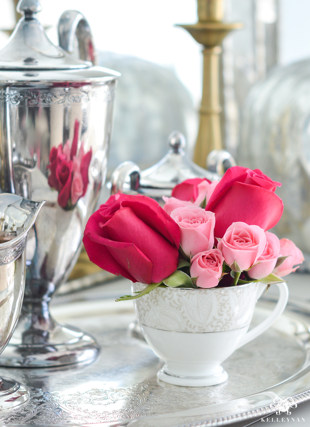 Roses in a teacup on a tea service