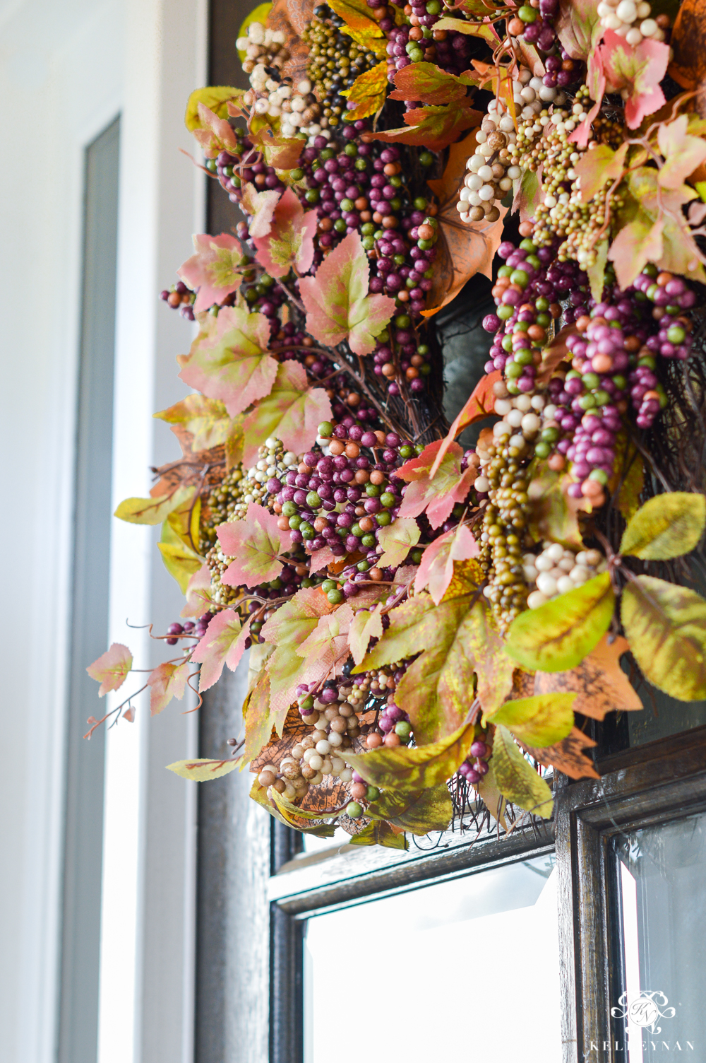 Fall wreath with purple berries