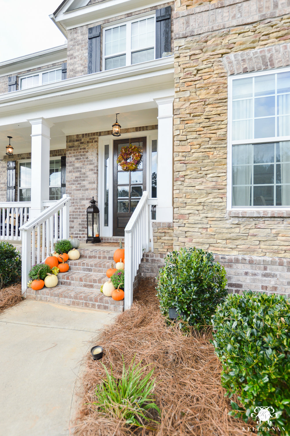 Brick and stone craftsman style home for fall