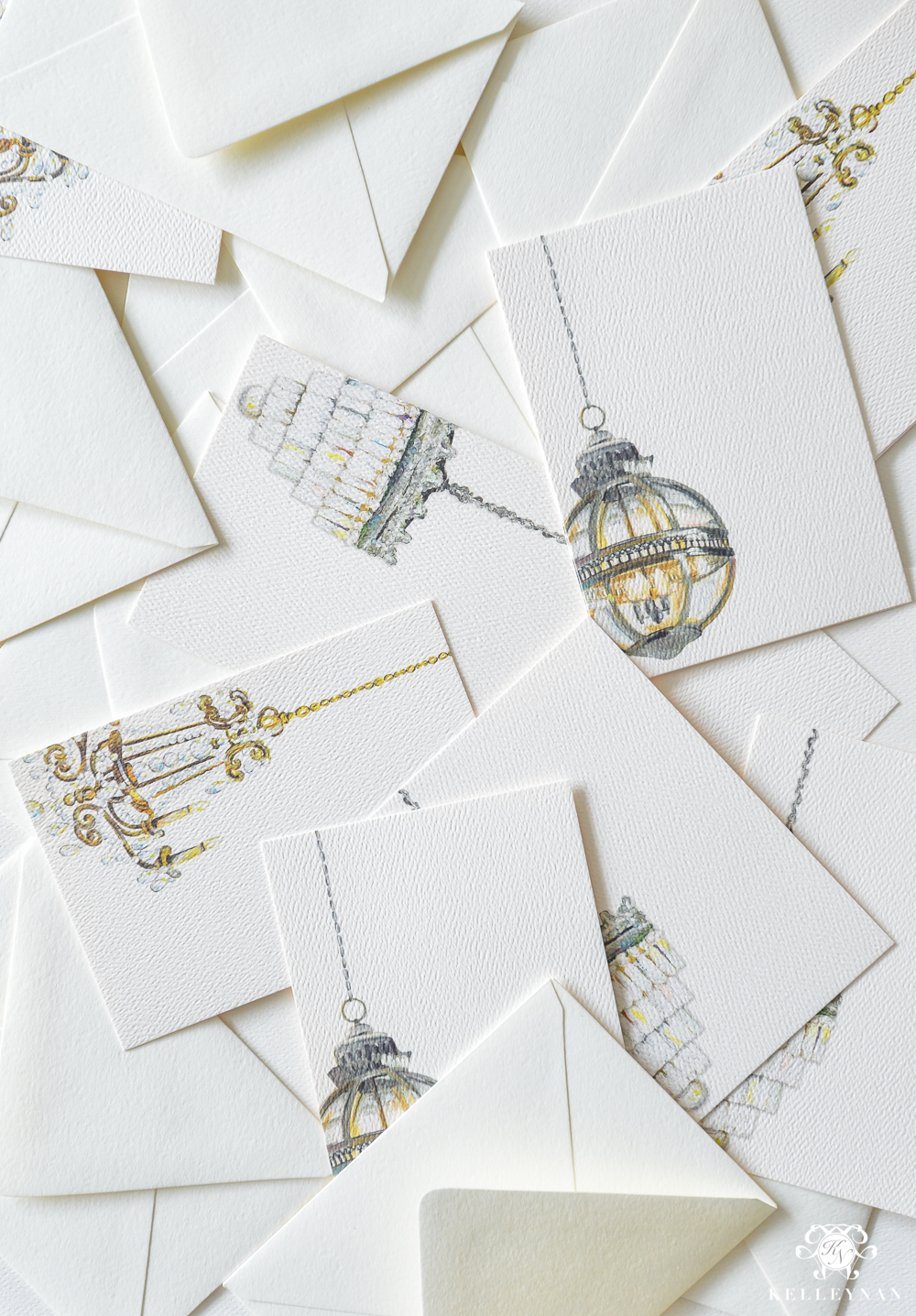Chandelier art note cards and stationery