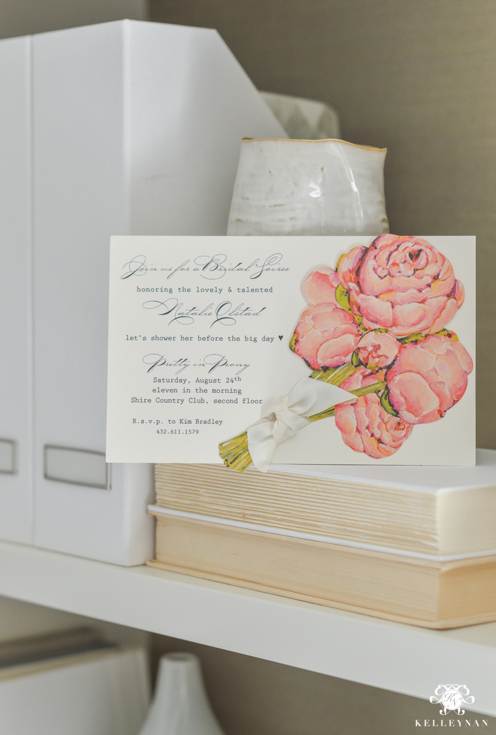 Bridal shower invitation with bouquet embellishments
