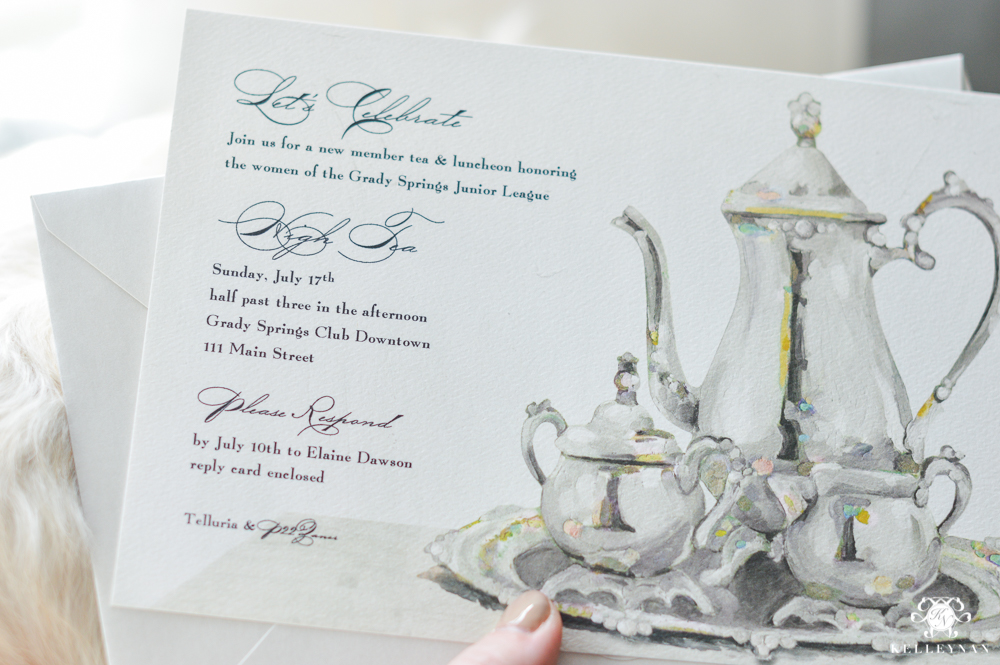 Tea luncheon invitation ideas with art