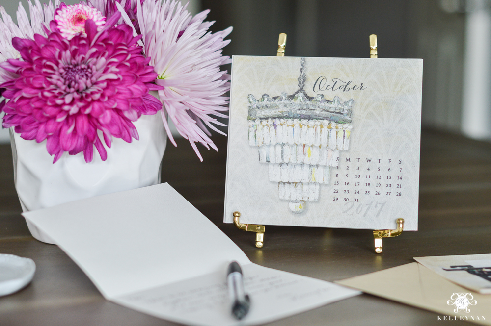 Card desk calendar on gold easel