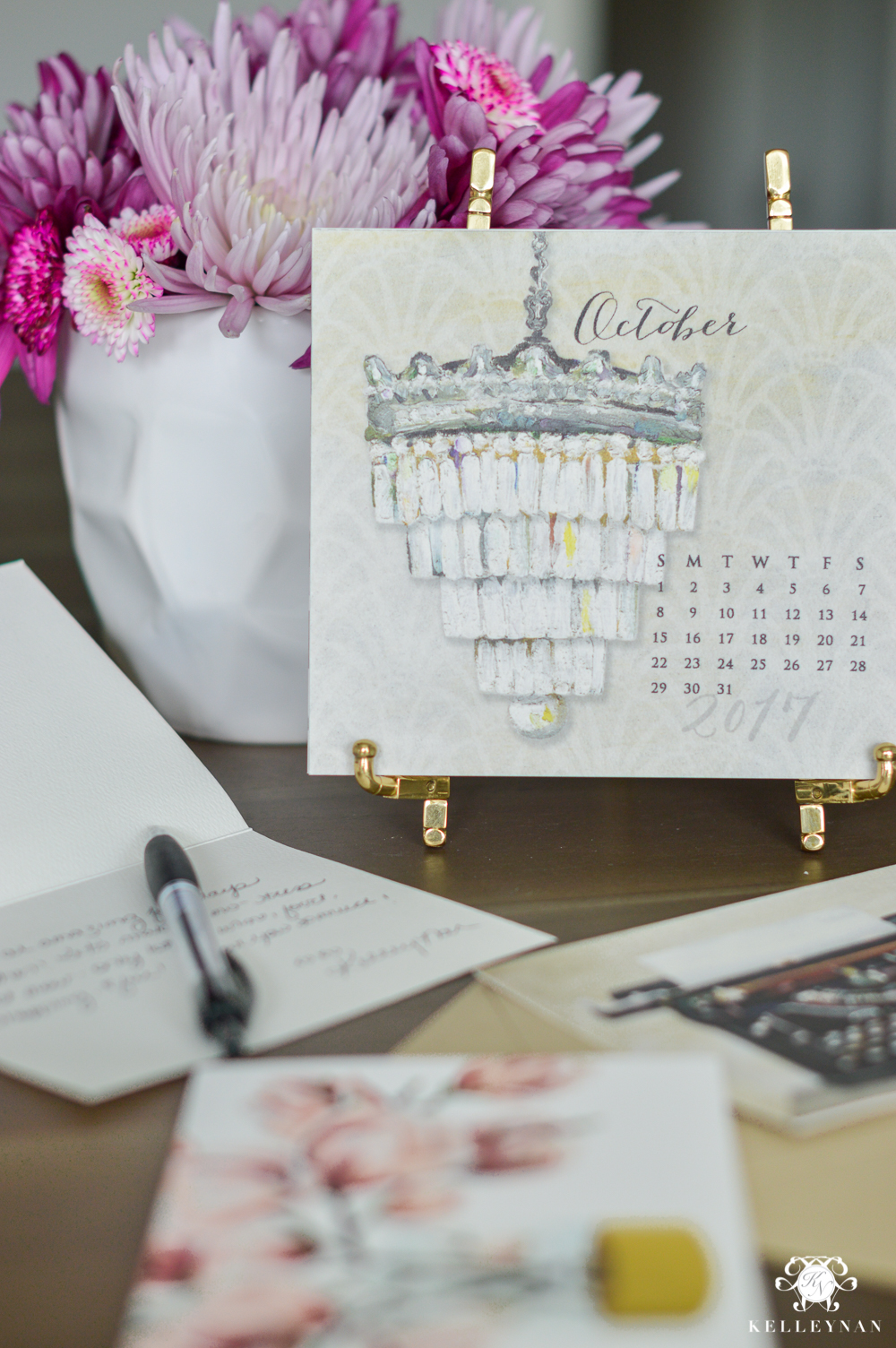 Calendar on brass easel- ideas to accessorize your desk