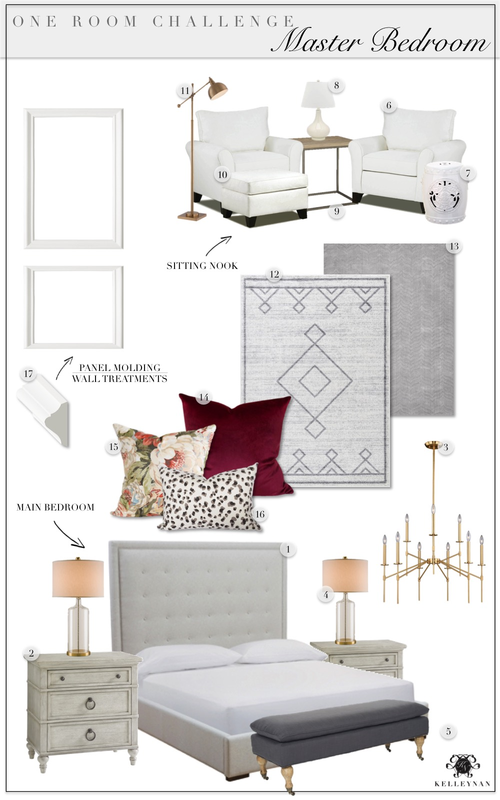 Neutral Master Bedroom Makeover Ideas with Wine Red Velvet Pillow