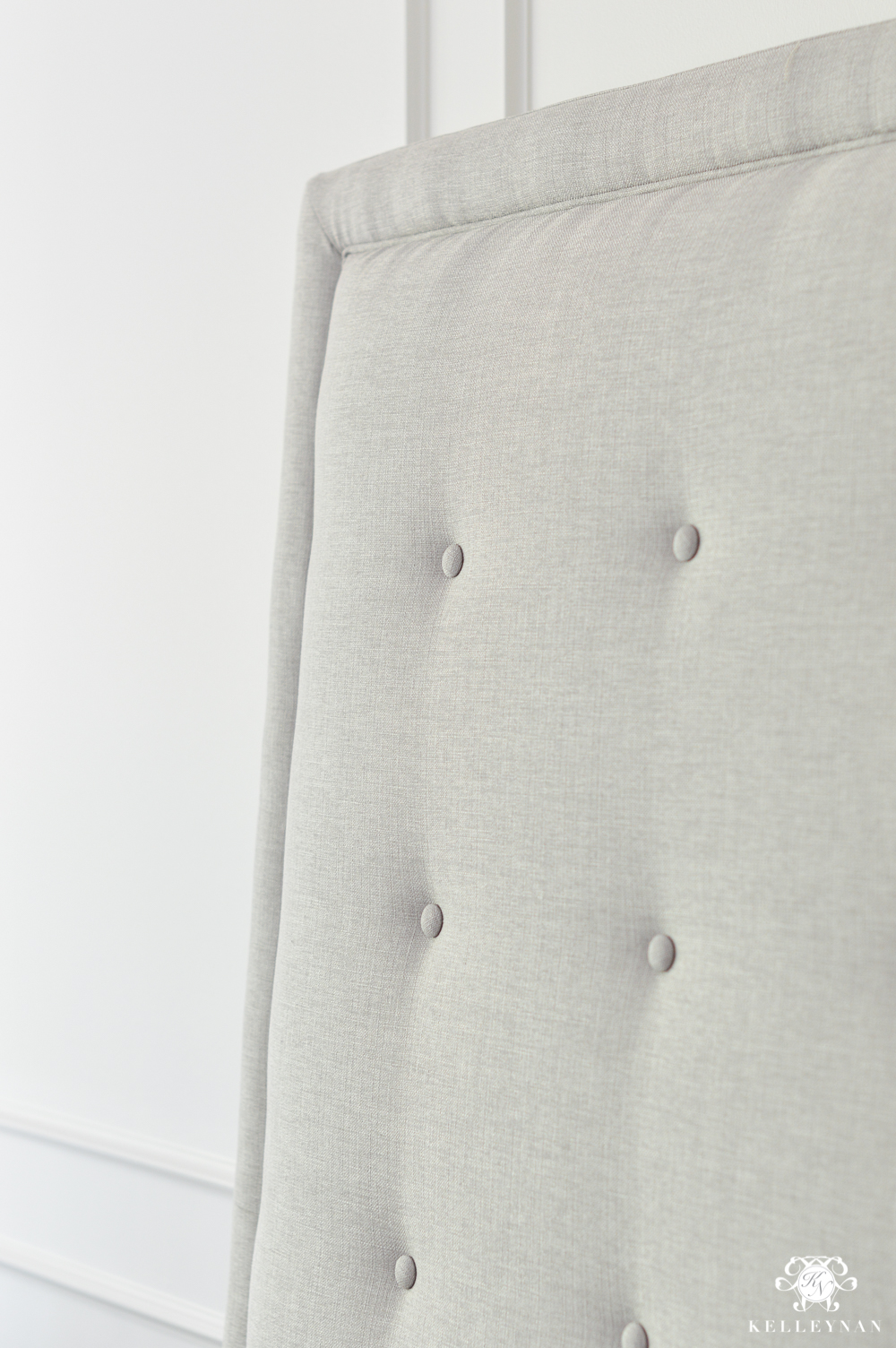 Contemporary Gray Fabric Button Tufted Headboard