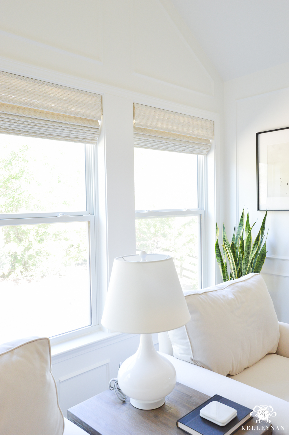 Cordless woven shades for the bedroom sitting area