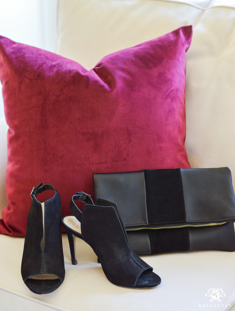 Favorite shoes and clutch and pillow for the holidays