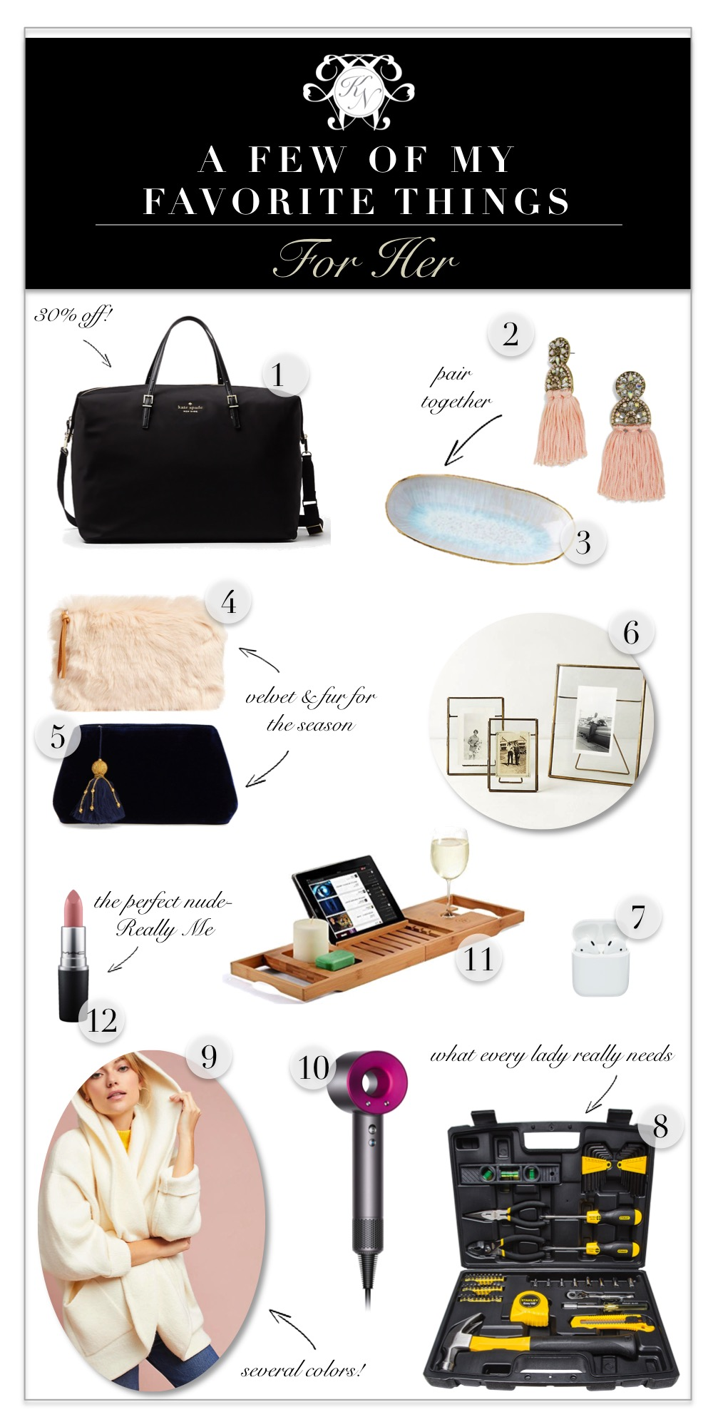 A Few of My Favorite Things: A Gift Guide for Her - Kelley Nan
