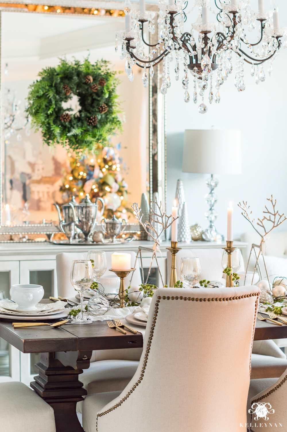 Christmas table decor ideas with reindeer and ornament centerpiece