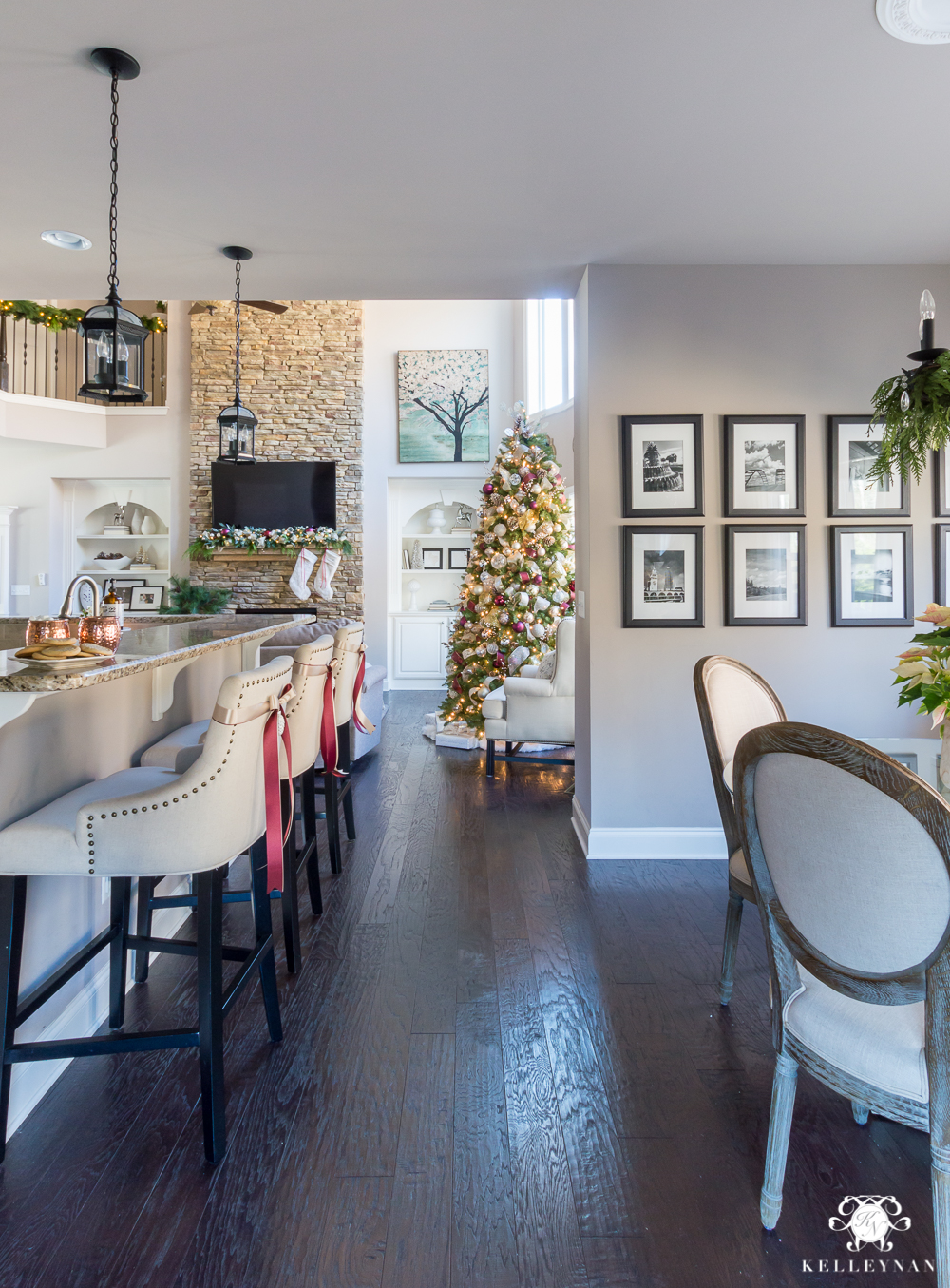 Sherwin williams perfect greige paint in a classic christmas home