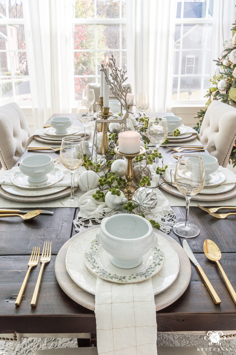 Christmas Tablescape Idea with Reindeer and Ornament Centerpiece