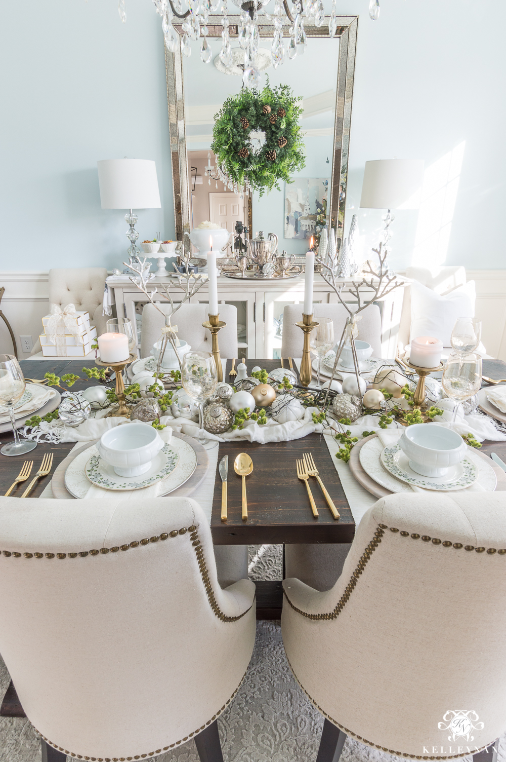 Christmas dinner table styling ideas with moss and reindeer