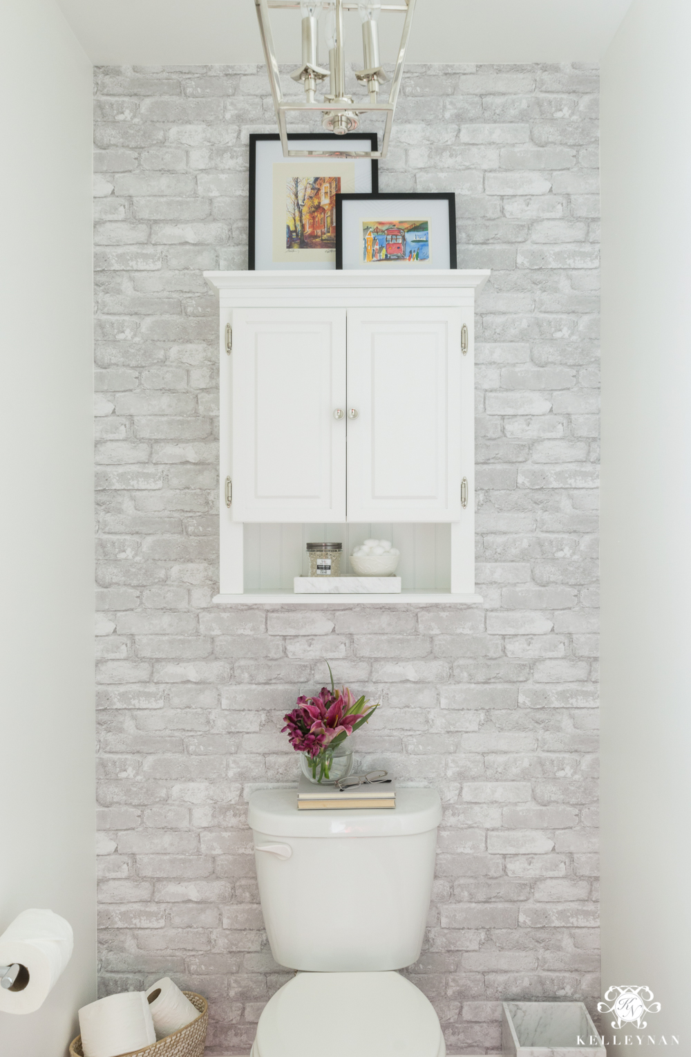 Toilet Room Makeover With Cabinet For Storage Above Toilet