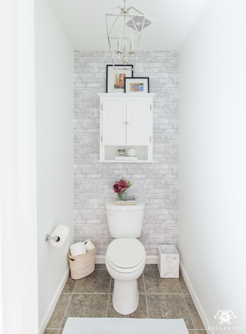 Toilet Room Makeover Reveal - Before and After with clever storage solutions