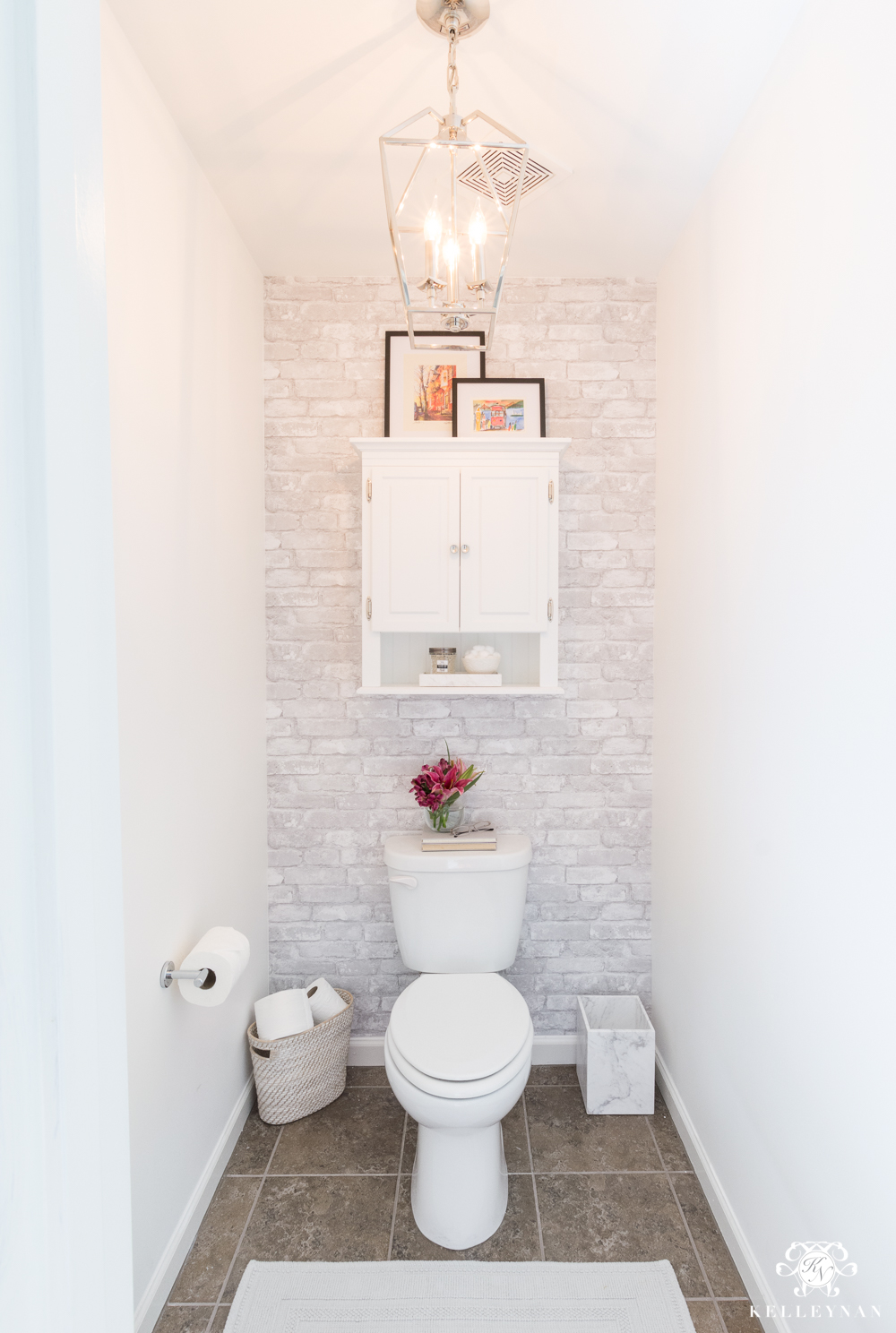 Toilet room makeover reveal and clever bathroom storage for Washroom design ideas