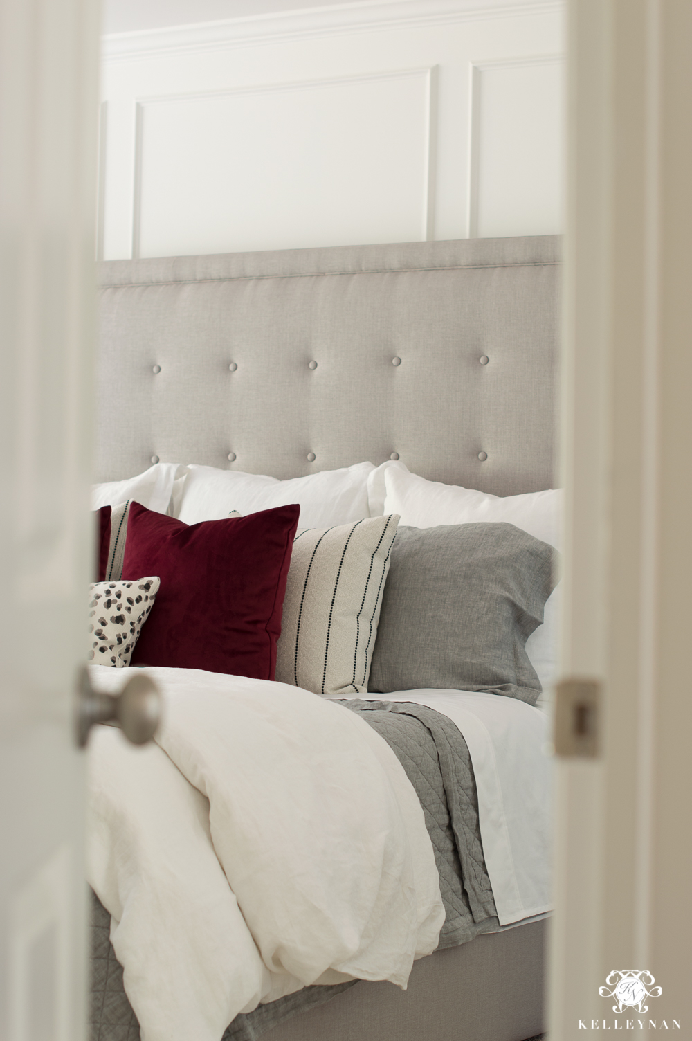 Master bedroom reveal sneak peek with gray