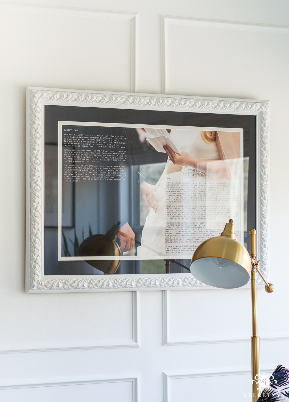 Wedding memento idea- hanging vows on the wall