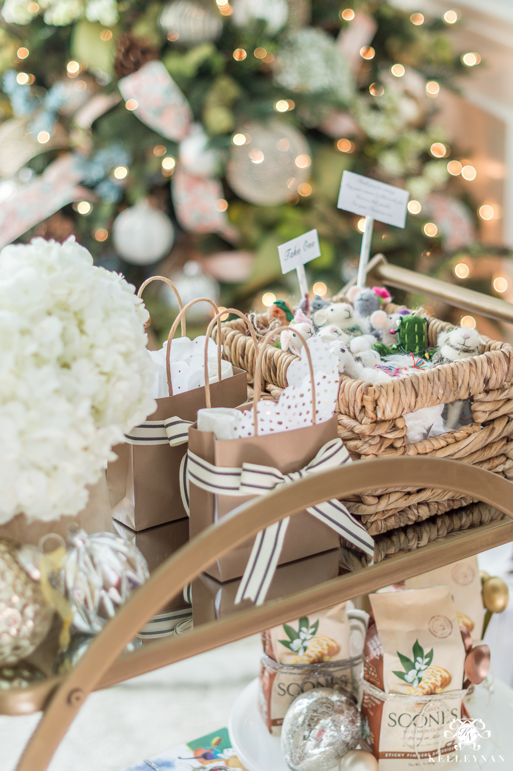 Hostess and neighbor gifts on a holiday bar cart