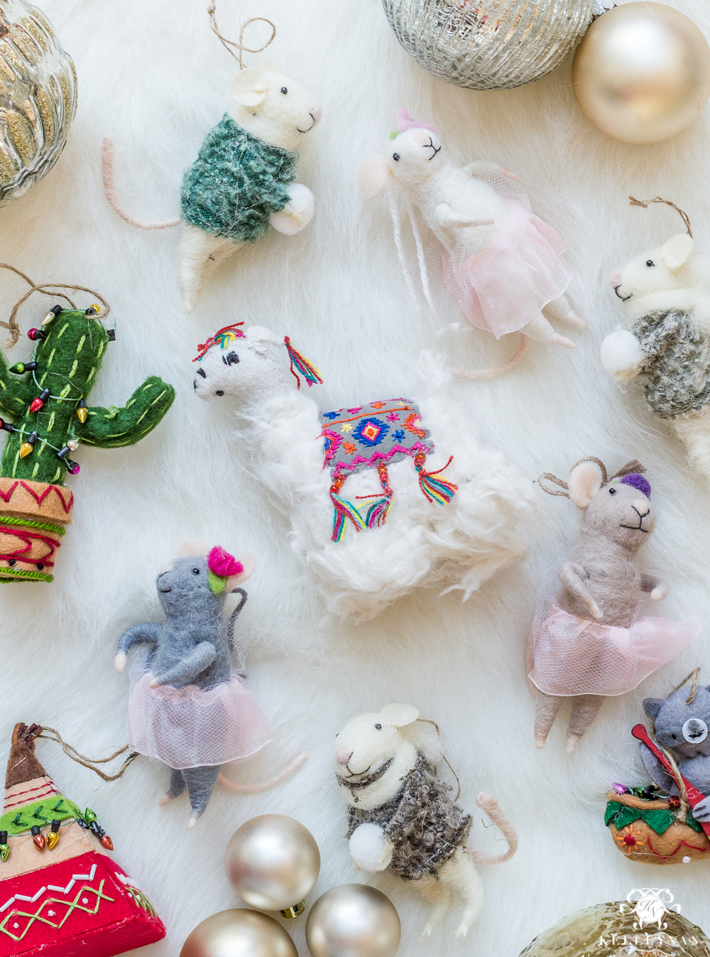 unique felt animal and mice ornaments
