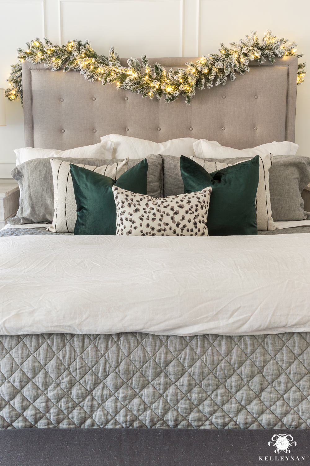 Snow leopard and green Christmas color scheme for Christmas bedding