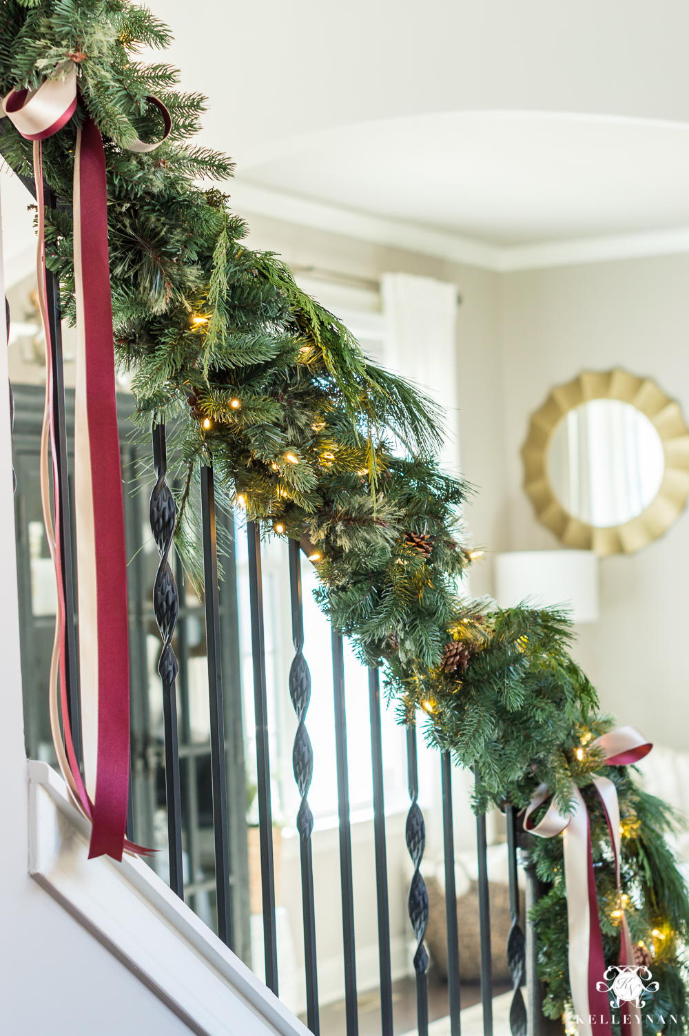 stairwell garland with draping ribbon