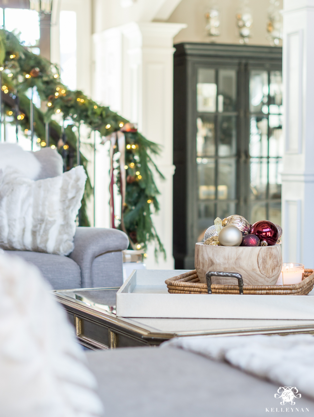 Christmas living room with wooden bowl of ornaments