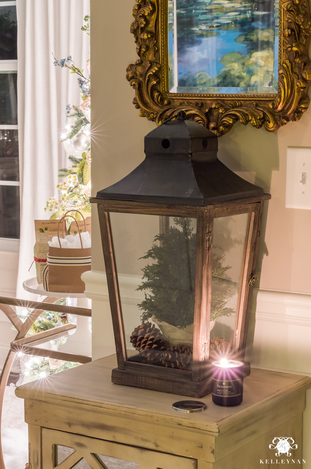 Foyer table lantern at night