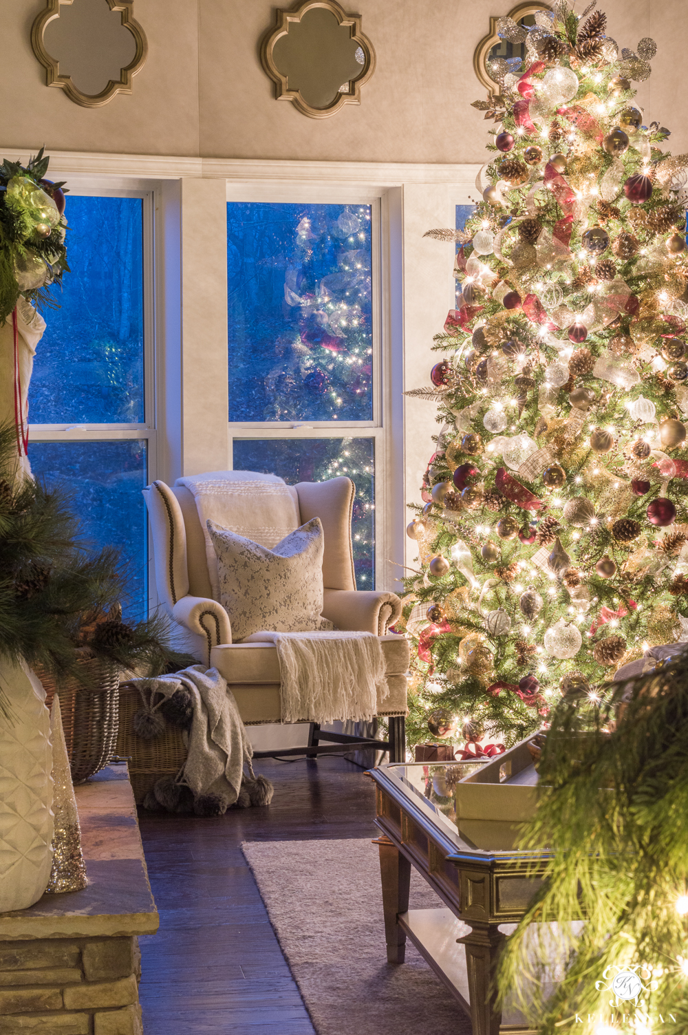 Christmas nook with wingback chair at twilight