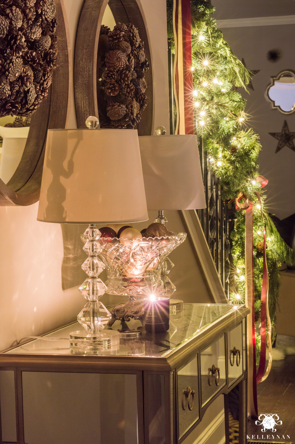 Christmas console table decor at night